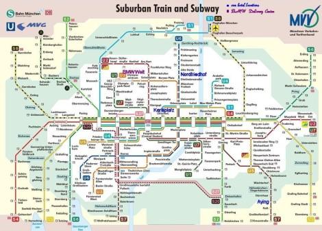 Mapa do transporte público em Munique